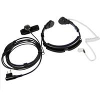 Wholesale Security Radio Walkie Talkie - Wholesale- Security Throat Microphone Mic Headset Headphone PTT for Motorola Walkie Talkie Portable Radio GP300 EP450 CP040 Ham Radio CP200