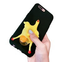 Wholesale Egg Squishy - 2017 Funny 3D Cartoon Chicken Laying Egg Phone Case Squeeze Stress Relieve Squishy Soft TPU Back Cover for iphone 7 7plus