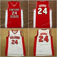 Wholesale Paul George Jersey - MENS Fresno State Bulldogs Paul George College Basketball Jerseys #24 Paul George Red White Stitched University Basketball Jersey S-XXL
