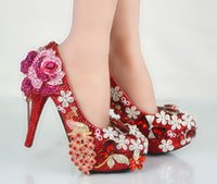 Wholesale Head Married - New round head big yards ultra-high phoenix wedding shoes with diamond style luxury nightclubs shoes Married bride wedding shoes