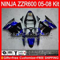 Wholesale kawasaki ninja for sale - 8Gifts Colors Body For KAWASAKI NINJA ZZR blue black NO74 CC ZX600 ZZR ZZR600 Fairing kit