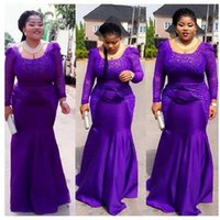 Wholesale Trumpet Style Maxi Dress - Plus Size Purple Prom Dresses Mermaid Long Sleeve Square Long Evening Gowns For Maxi Women New Style