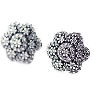 Silver spike stud beads - 2016 Crystallised Floral Earring Studs Sterling Silver earring Fit Pandora Charms earring Authentic DIY Bead Fine Jewelry
