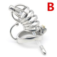 Wholesale Sm Sounding Tube - SM Toys Chastity Cage Tubes Stainless Steel Male Chastity Devices with Silicone Urathral Catheter for Men Sex Toy G7-1-221