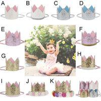 Wholesale Glitter Hats - Baby Girls sequins Crown Rainbow Flower headbands Baby Girls Headband Glitter Gold Birthday Kids Hair Accessory Smash Cake Baby Birthday Hat