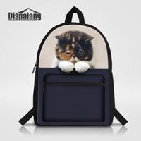 Sacchetto di scuola della tela di canapa per le donne gatto di animale  stampa delle signore sacchetti di spalla di viaggio bagpack sacchetto di  zaino del ... f55746a9fcd3