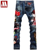 Wholesale badge embroidery designs - Wholesale- Men's Patchwork Denim Blue Jeans Locomotive Pants Embroidery Beauty Badge Cool Stylish Design Skinny Straight Slim Pants 29-38