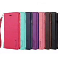 Wholesale Iphone Flip Strap - For Galaxy S8 plus Flip Wallet Leather Colorful TPU Hand Strap Case Stand Cover For Samsung S7 edge S6 J7 Prime iphone 7
