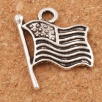 Wholesale flag charms - USA Flags Charms Pendants 200pcs lot 17.9x14.5mm Antique Silver Jewelry DIY L299 Hot sell