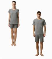 Wholesale Male Gradient Shirt - 2017 Summer Brand Homewear Men Casual Striped Pajama sets Male O-neck Collar shirt & half pants Lovers Mo Cotton sleepwear Suit