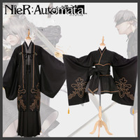 Wholesale Red Anime Wig - 2B 9S NieR Automata YoRHa No.2 Type B Uniforms Kimono and Wig Cosplay Costume Free Shipping