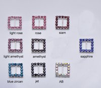 Wholesale Rhinestone Buckles For Invitations - (J0003C-10mm inner bar) square rhinestone buckle for wedding invitation card.silver plating.100pcs lot.
