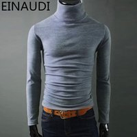 Wholesale Design Options Sweaters - Wholesale- Autumn Winter Men Turtleneck Sweater Slim Pullover Long Sleeve Knitted Sweater Multi Color Option Solid Design Soft And Warm
