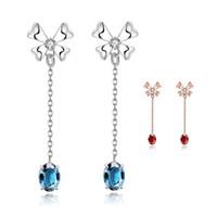 Wholesale Vintage Ruby Stud Earrings - Vintage Long Ruby Stud Earrings For Women Wedding Zirconia Earring Cz Diamond Sapphire Jewelry Girl Beautiful Earrings Crystal Jewelry Gifts