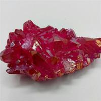 doğal kırmızı kristal toptan satış-68 gram doğal kuvars kristal küme gül kırmızı melek aura küme numune için şifa dekorasyon tedavi