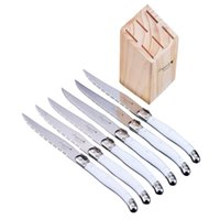 Wholesale White Handled Kitchen Knives - New 6pcs set Stainless Steel Knives Laguiole style Steak Knife Set in Wood Drawer Tray White ABS Handles Kitchen Accessories