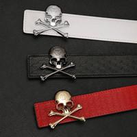 Wholesale Skull Silver Belt Buckle - 2018 Hot NEW fashion good skull buckle belts for men genuine leather brand luxury belt designer F belts Men high quality belt free shipping