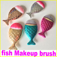 Wholesale Makeup Brushs - In stock Newest Mermaid fish Makeup Brush Powder Contour Fish Scales Mermaidsalon Foundation Shiny Brushs 5Colors Free Shipping