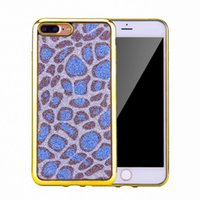 Luxo Moda Bling galvanoplastia Leopard Soft TPU Back Case para IPhone 6 7 Plus Luxo Glitter Plating Cell Phone Skin Cover