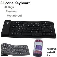 Wholesale Usb Wireless Silicone Keyboards - Waterproof keyboard Silicone softe Keyboard can roll it up bluetooth wireless USB Keyboard with 88 keys multi color with box shipping by DHL