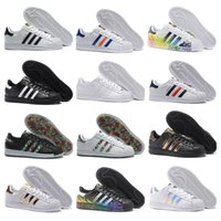 Wholesale Pink Blue Stars - Adidas Originals Superstar White Hologram Iridescent Junior Superstars 80s Pride Sneakers Super Star Women Men Sport Running Shoes 36-45