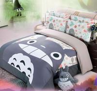 Wholesale Totoro Comforter Set - Wholesale-totoro bedding set 100% cotton 4pcs comforter cover bed sheet sets for kid children's home decor bed linen