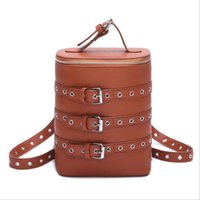 Wholesale Women Personalized Belts - The new personalized Korean style women backpack bucket shape shoulders bag fashion belt drum student bag