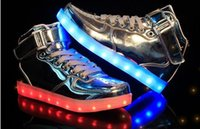 Wholesale Neon High Tops Shoes - Glow bambas Luminous Basket tenis led Simulation High Top Trainer Neon Tall Shoe with Light up for Adult Male Feminino Men
