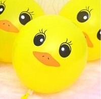 Wholesale Birthday Rubber Duck - 12 Inch Yellow Duck Balloon 1 Set=100 Pcs Round Rubber Balloon Cute Cartoon Yellow Duck Balloon Children Birthday Party Decoration Kids Toys