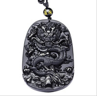 Wholesale Carved Dragon Pendant - Free shipping 2017 natural obsidian carved dragon pendant necklace Ms. men Lucky Charms pendants fashion jewelry