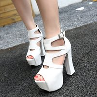 Wholesale White Bootie - Highly Recommend Sexy Black White Animal Print With Buckle High Platform Chunky Heel Open Toe Bootie Shoes