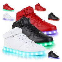 Wholesale Led Glow Red - Led Shoes Man Women USB Light Up Unisex Sneakers Lovers For Adults Boys Casual Students Sports Glowing With Fashion High Top Lights