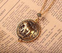 Wholesale Long Gold Elephant Fashion Necklace - Retro Ancient Gold Color Elephant Long Necklace Fashion Circle Unisex Magnifier Pendant Antique Animal Jewelry Birthday Gift