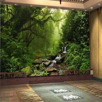 paisagens wallpapers venda por atacado-Foto 3D papel de parede Personalizado luz solar natural olho verde floresta paisagem papel de parede para parede 3D quarto para sala de estar fundo