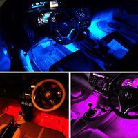 encantos leves venda por atacado-4 Em 1 Carro dentro da atmosfera da lâmpada 48 LED Decoração de Interiores iluminação RGB 16-Cor LED Controle Remoto Sem Fio 5050 chip de Carga 12 V charme