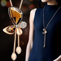Barato Tassel Statement Necklace Atacado-Wholesale-Fine Trendy Statement Crystal Butterfly Tassel Long Necklace Mulheres 2016 New Gold Plated Jóias Bijoux Colares Pingentes