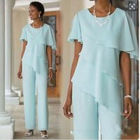 Wholesale blue silk pants - 2017 Mother of the Bride Dresses Pants Suits Wedding Guest Dress Silk Chiffon Short Sleeve Tiered Mother of Bride Pant Suits Custom Made