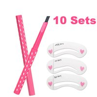 Wholesale Eyebrow Stencil Set - Wholesale 10 Sets Eyebrow Pencil 5 Colors and Eyebrow Stencils 3 Shapes Automatic Eyebrow Liner Long Lasting Waterproof Durable