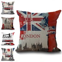 National Flag UK USA Londra Parigi New York Casi di tiro del cuscino Cuscino federa di cotone di tela Piazza federa Pillowslip 240542