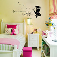 Wholesale Dandelions Sticker - AW9116 Lovely Girl Wall Stickers Vinyl Decals I am a Small Dandelion Quote Sticker Cute Kids Rooms Free Shipping