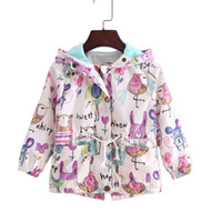 2017 Autumn new Baby Girl Manteaux Manteaux Cartoon Graffiti coupe-vent À capuche pour enfant en bas âge Garçon Spring Kids Jacket Outerwear WG021