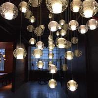 plafonniers achat en gros de-LED Cristal Boule De Verre Pendentif Lampe Meteor Rain Plafond Lumière Météorique Douche Escalier Bar Droplight Lustre Éclairage AC110-240V