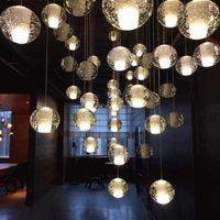 12 leichte kristallkronleuchter großhandel-LED Kristall Glaskugel Anhänger Meteor Regen Deckenleuchte Meteoric Dusche Treppen Bar Droplight Kronleuchter Beleuchtung AC110-240V