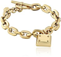 Wholesale White Copper Jewellery - New York Fashion Brand Tone Toggle Link Bracelet Padlock Lock Pendant charm bracelets fashion jewellery brand jewelry for men women