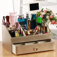 Wholesale Desktop Storage Containers - PU Leather Cosmetic Organizer,Makeup Holder Jewelry Watch Storage Case Box Candy Pills Cosmetics Organizer Desktop Organizador Container