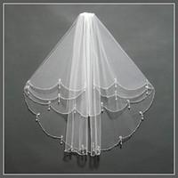 Wholesale Cheap Mantilla Bridal Veils - Fancy Bead Wedding Veils With Comb 2017 Cheap Mantilla Veil Fingertip Length Two-Layer Bridal Veil High Qulity