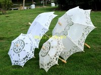 Wholesale Lace Parasols Small - 5pcs lot Fast Shipping Newest Big & Small Elegant lace parasols Bridal Wedding umbrella 2 colors available