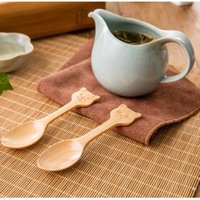 Wholesale Wooden Spoon Animals - 100% Natural Wood Mini Spoon For Children Cute 4 Styles Animal Model Wooden Spoon Environmental Protection Tableware