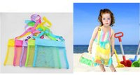 Fabric squared wire mesh - 5color Blanks Children Mesh Shell Beach seashell Bag Kids Beach Toys Receive Bag Mesh Sandboxes Away