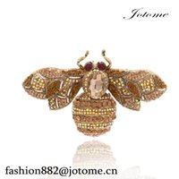 Wholesale Red Heart Pin Vintage - 100PCS Lot 5 Colors Charming Vintage Retro Bee Rhinestone Crystal Insect Brooch Pin Woman Brooch Party Jewelry